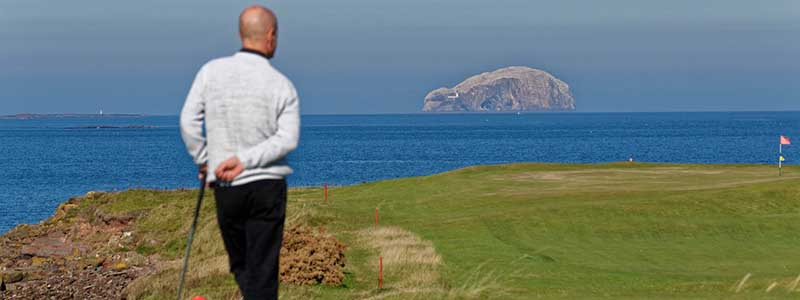 golf thinking ocean grass island