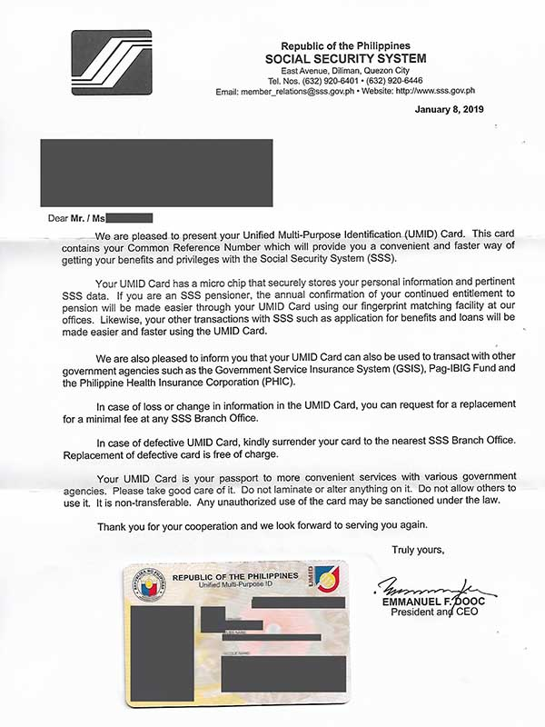sss umid id letter