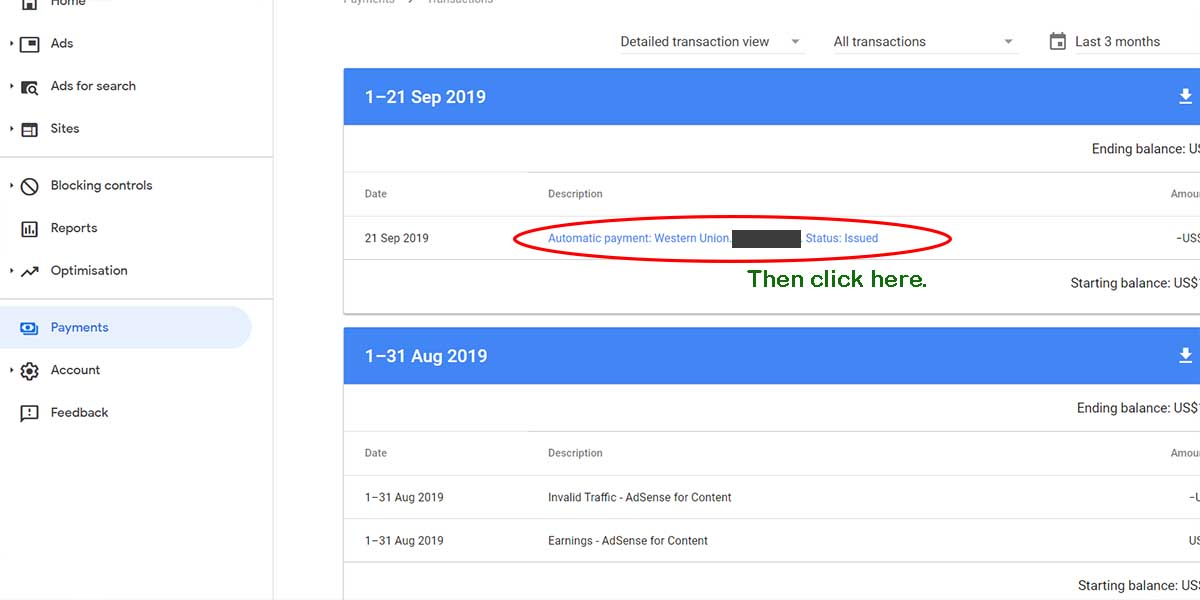 how to claim adsense payment find mtcn