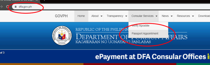 dfa website passport appointment