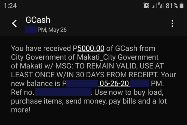received gcash